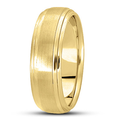 Satin Finish Tiered Men's Wedding Band in Yellow Gold
