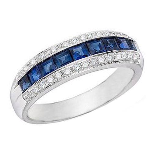 Nine Stone Princess Cut Blue Sapphires & Round Diamonds Wedding Band 1.30 tcw.