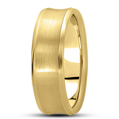 Satin Finish Concave Band in Yellow Gold