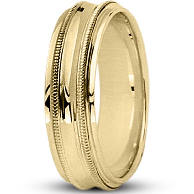 Concave Milligrain Wedding Band in Yellow
