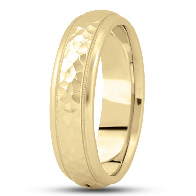 Hammered Milligrain Men's Domed Yellow Band