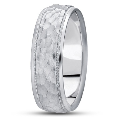 Milligrain Hammered Mens Wedding Band