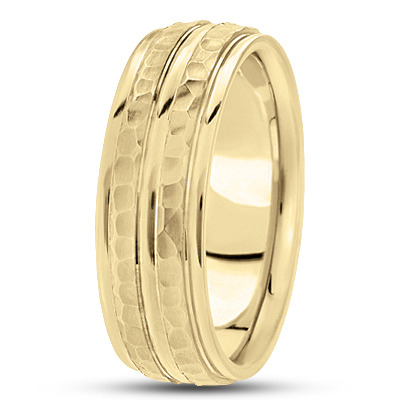 Double Row Hammered Yellow Band