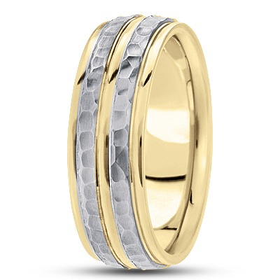 Double Row Hammered Two Tone Band