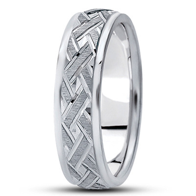 Satin Engraved Woven Mens Wedding Ring