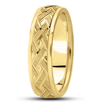 Satin Engraved Woven Yellow Wedding Ring