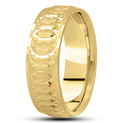 Diamond Cut Bevel Spiral Infinity Yellow Band