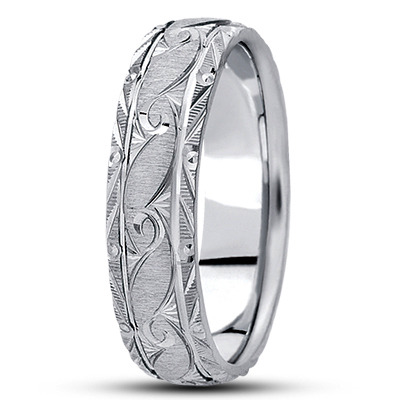 Rococo Engraved Mens Wedding Band