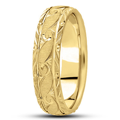 Rococo Engraved Men's Yellow Wedding Band