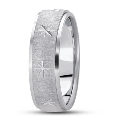 Diamond Cut Star Satin Finish Wedding Ring