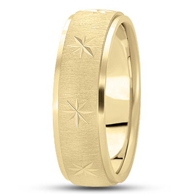 Exploding Star Satin Yellow Wedding Ring
