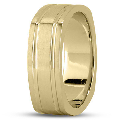 Square Mens Wedding Band Satin Yellow Gold