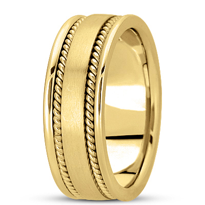 Double Rope Yellow Men's Wedding Band