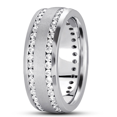 Tow Row Channel Set Diamond Eternity Band