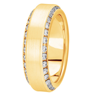 Two Row Angled Channel Diamond Yellow Band