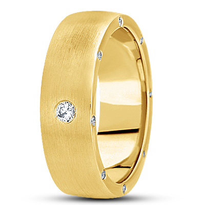 Surprise Diamond Satin Yellow Wedding Band