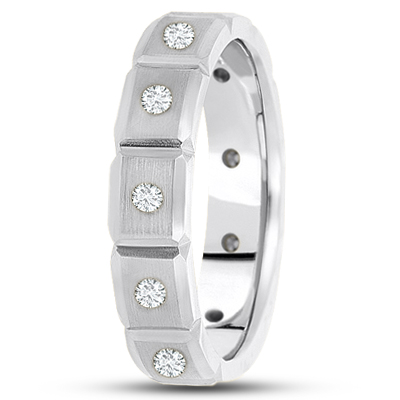 Eternity Round Diamond Mens Beveled Band