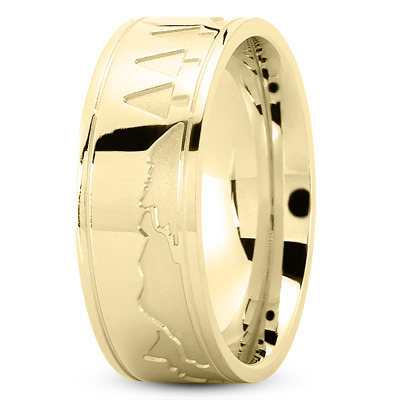 Nature Inspired Wedding Band in Yellow Gold
