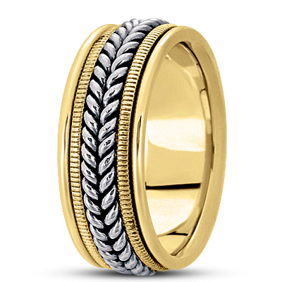 Wheat Rope Men's Two Tone Wedding Band
