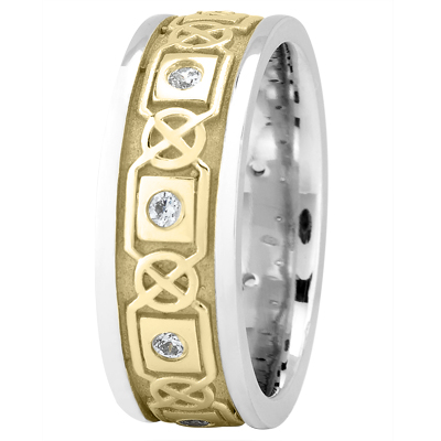 Celtic Two Tone Wedding Band Round Diamonds