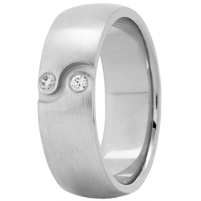 Ying Yang Diamond Satin Wedding Band