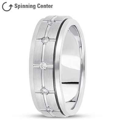 Diamond Cross Spinner Wedding Band