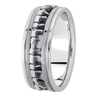 Engraved Ani L'Dodi White Gold Men's Ring
