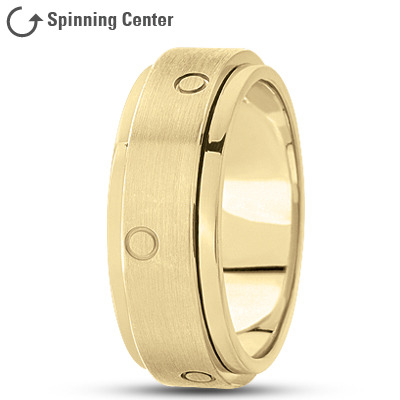 Spinner Wedding Band Yellow Satin Finish