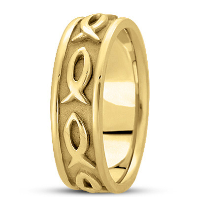 Ichthus Men's Wedding Ring in Yellow Gold 7mm