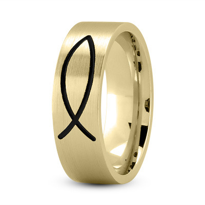 Black Rhodium Ichthys Ring 18K Yellow Gold