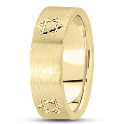 Engraved Star of David Satin Yellow Band