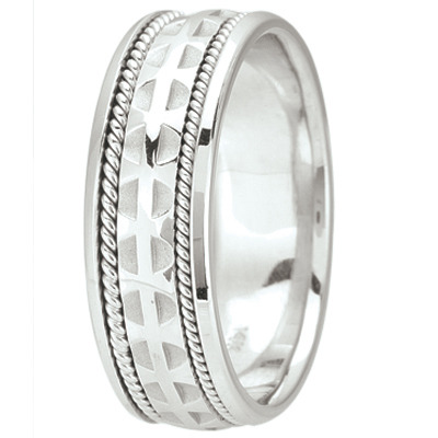 Men's Wedding Band with Cross Pattée & Rope Edging, 7mm