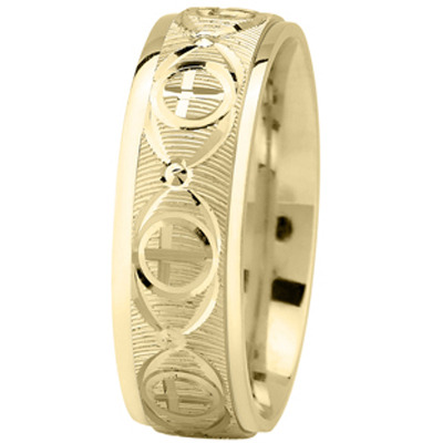 Religious Men Wedding Band in Yellow Gold