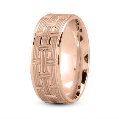 8mm Weave Engraved Wedding Band in Rose Gold