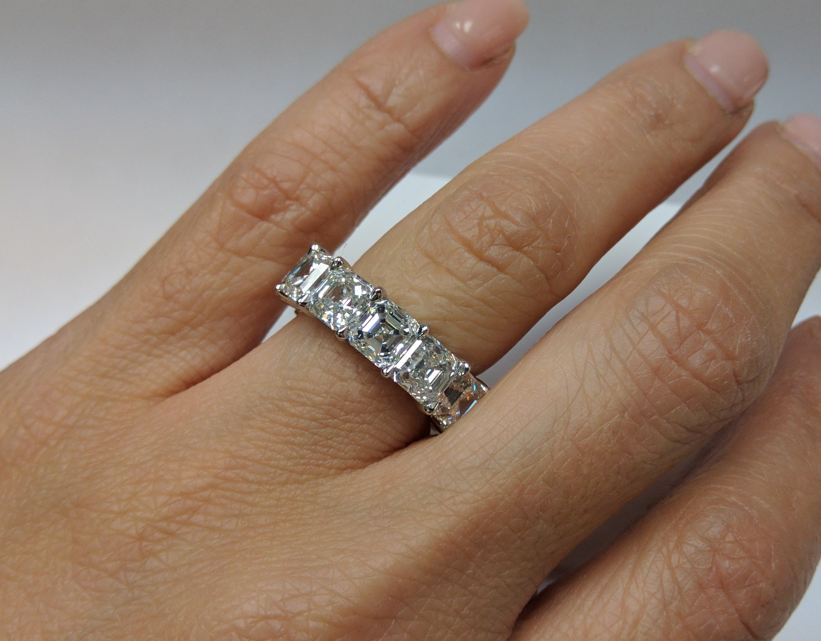 Asscher Diamond Eternity Wedding Band Anniversary Ring