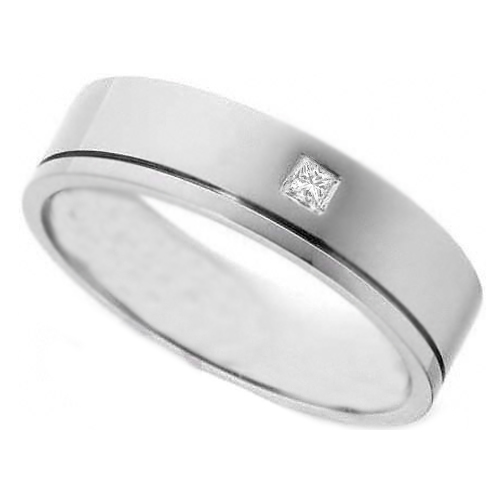 Solitaire Princess Cut Diamond Wedding Band in Bezel Set 14K White Gold
