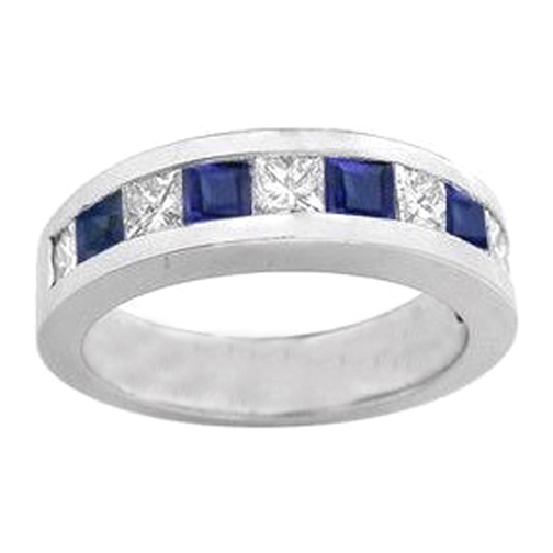 Nine Stone Princess Cut Diamond Sapphire Channel Set Wedding Band 0.37 tcw. In 14K White Gold