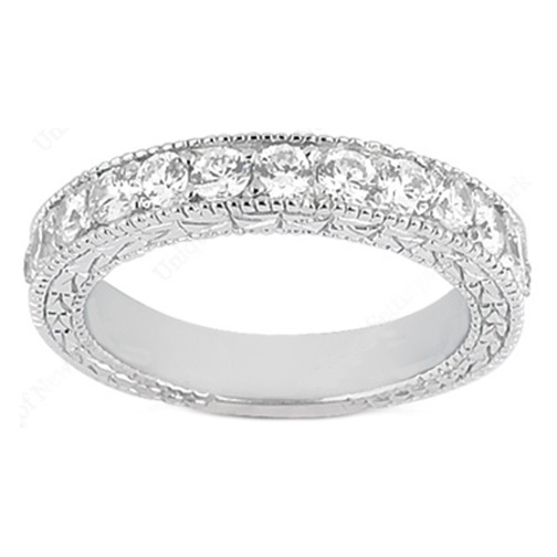 Vintage Micro-Pavé Set Round Diamond Wedding Band in 0.39 tcw. 14K White Gold