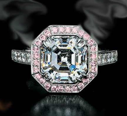 Asscher Diamond Engagement Ring Setting with Diamonds and Pink sapphire 0.54 tcw. Like Nicole Richie in 14K white gold