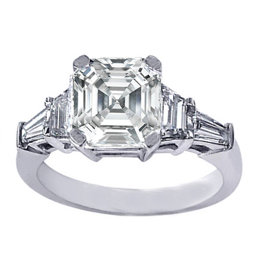 Asscher Cut Diamond Engagement Ring trapezoids and baguettes 0.60 tcw.