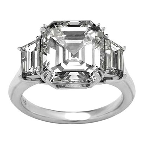 Asscher Diamond Engagement Ring  Trapezoids Diamonds Accents 0.35 tcw. Like Vanessa Minnillo's in 14K White Gold