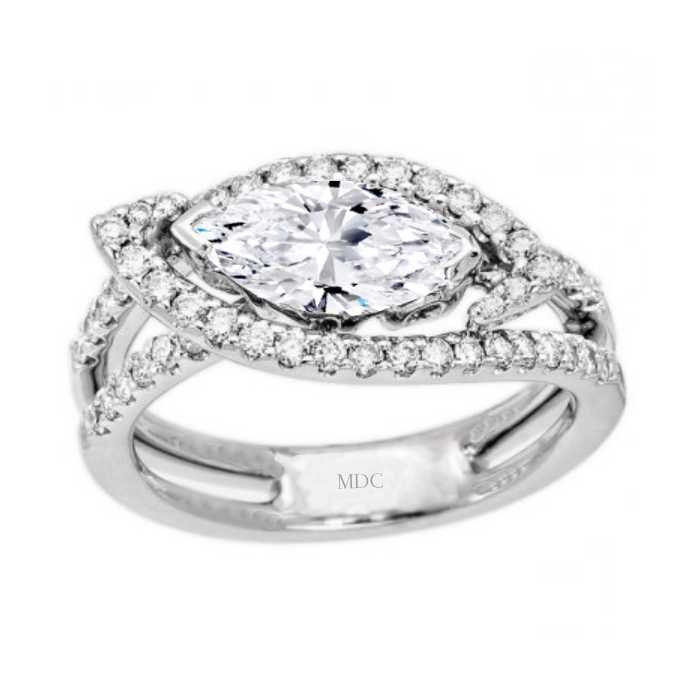 Horizontal Marquise Intertwined Halo Engagement Ring