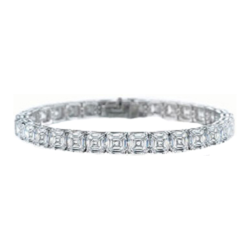 8.4 Carat Asscher cut Diamond Tennis Bracelet G-H - VS