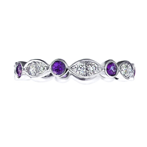 Round Diamonds & Amethyst gem stone Swing Band