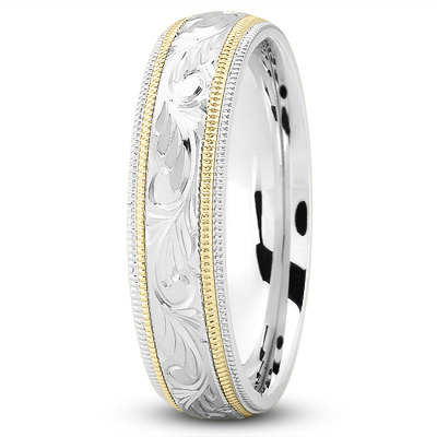 Milligrain Engraved Two Tone Wedding Band