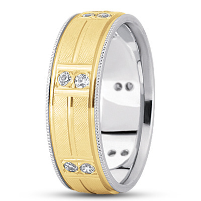 Duo Diamond Two Tone Criss-Cross Engraved Band