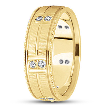 Duo Diamond Criss-Cross Engraved Yellow Band